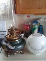 Antique GWTW style oil lamp