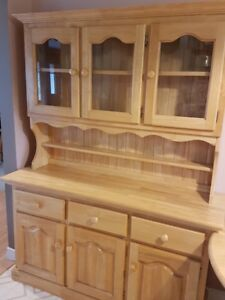 Solid Wood Cabinet with Glass Cupboard Hutch--Excellent Condtion
