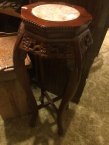 Carved wood marble table