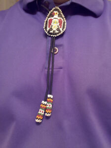 INDIGENOUS ART - BEADED RED THUNDERBIRD BOLO