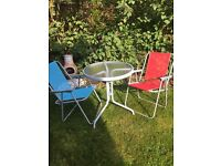 Table and 2 folding chairs