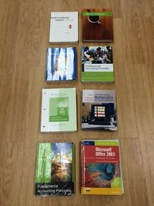First year and second year business marketing text books.