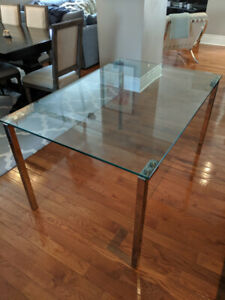 Structube Tempered Glass Dining Table with Chrome Legs