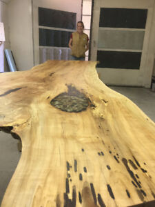 LIVE EDGE SINGLE SLAB SPALTED MAPLE HARVEST TABLE READY TO GO
