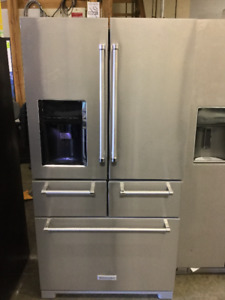 "36"" Kitchen Aid Preserva Excellent Fridge Stainless Steel"