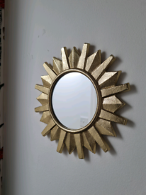 Beautiful Gold Metal Sunburst Mirror