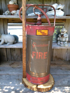 Antique Copper & Brass Red 5 Gallon Guardian Fire Extinguisher w