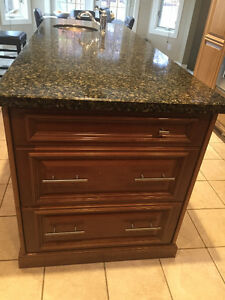 Granite topped Island with sink 33x90 Excellent condition