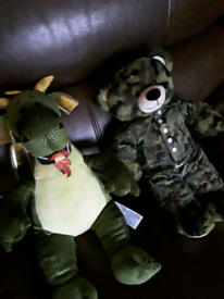 Army teddy and dragon from bear factory shop