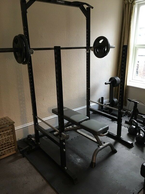 Squat rack and Olympic weights