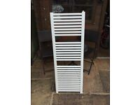 White Radiator towel rail 45 cm wide with plumbing points at 40cm width