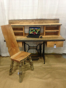 Live-edge desk and chair