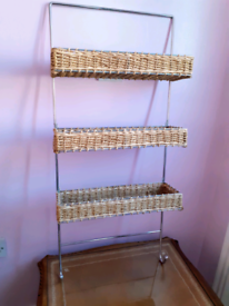 Chrome Wall Organiser With Wicker Baskets