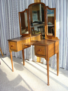 Antique dressing table with mirrors and chair