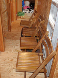 4 Wood Folding Chairs - Price is for all 4