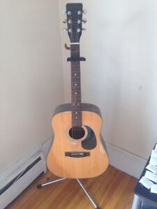 Acoustic guitar with case and 2 guitar stand