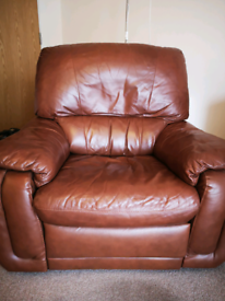 Tan Leather Recliner Armchair in need of small repair