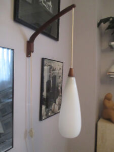 MCM, Teak, Wall Mounted, White Glass Lamp/Sconce
