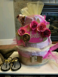 Deluxe Diaper Cake with Nursing Cover + More / Baby Shower Gift