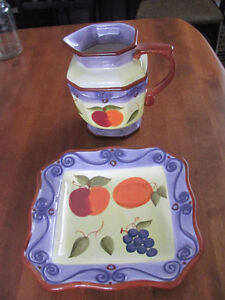 BEAUTIFUL OLD MATCHING PITCHER & PLATTER