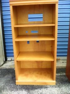 ALL WOOD   BOOKCASE, $30;   Particleboard Bookcase $12