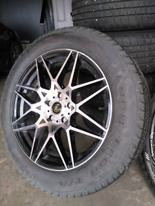 18 inch great condition machined 5 bolt rims wheels with tires.