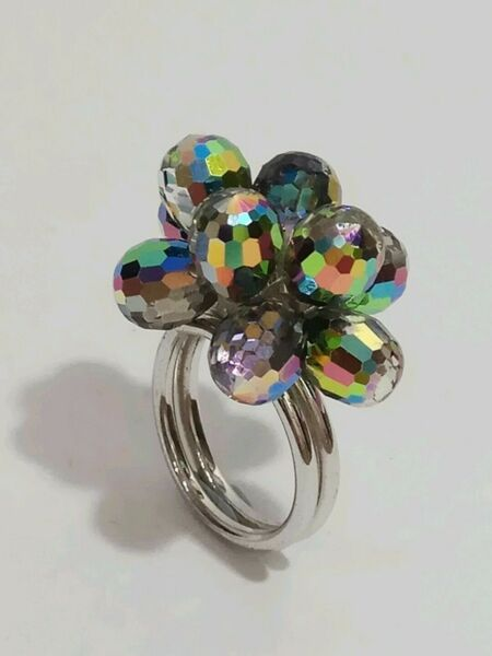 Multi-coloured Crystal Silver Ring