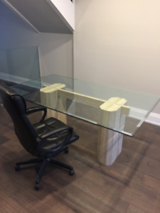 Glass and Marble Executive Table or Desk