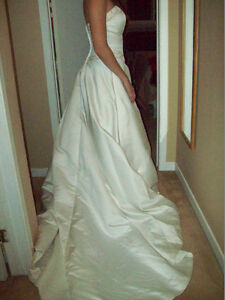 CHAMPAGNE/ROSE SATIN WEDDING DRESS SIZE 8