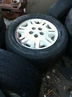 P215/75R15 M+S 15inch tires and rims all season 4 pieces as is