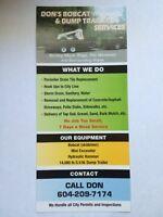 BOBCAT (SKIDSTEER) MINI EXCAVATOR, DUMP TRAILER SERVICES