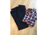 Black slim trousers & checked shirt. Size 8