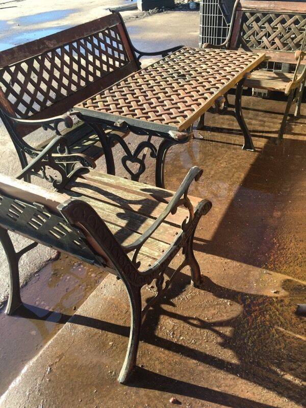 Cast Iron Garden Table Bench And Two Chairs In Newport