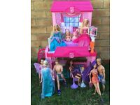 Barbie vacation house, Barbies, Justin, Elsa, Ken, other dolls bundle