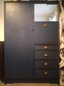 Blue Vintage Retro Teak Combi Wardrobe