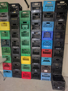 Milk Crates-Strong/Stackable,11x11x12,black/green,good condition