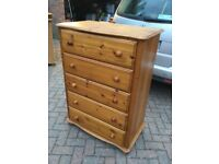 TALL PINE CHEST OF DRAWERS FROM M & S