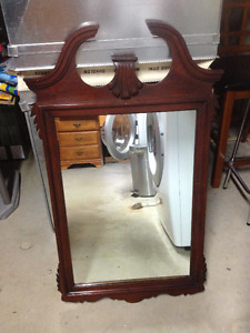 GORGEOUS BROKEN ARCH MIRROR, MAHOGANY FINISH