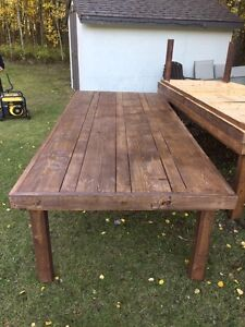Rustic, harvest style wood event tables for sale (10' x 4.5' ea)