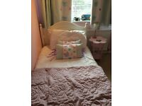 Single bed curtains matching cushions table and lamp