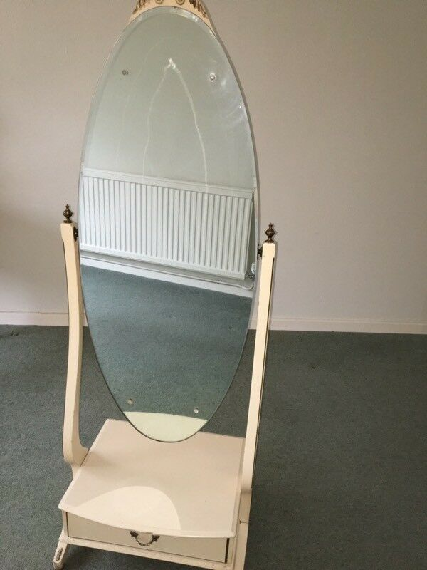 French Style Full Length Oval Mirror With Draw In Base