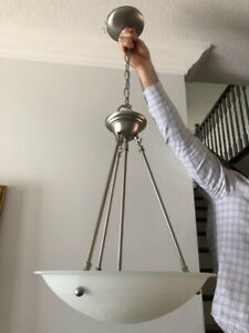 Nickel Etched Glass Pendant Chandelier