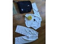Taekwondo dobok shirt trousers belt and bag