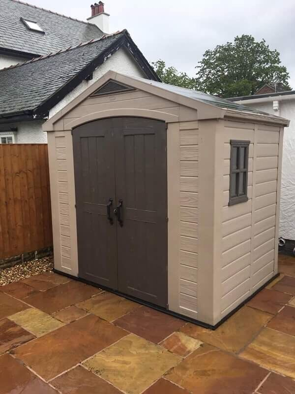keter apex plastic garden shed 8 x 6ft