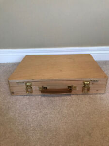 TWO ARTISTS TOOL BOXES LIKE NEW- ELM WOOD-$25 EACH.