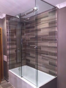 shower glass door and glass railing