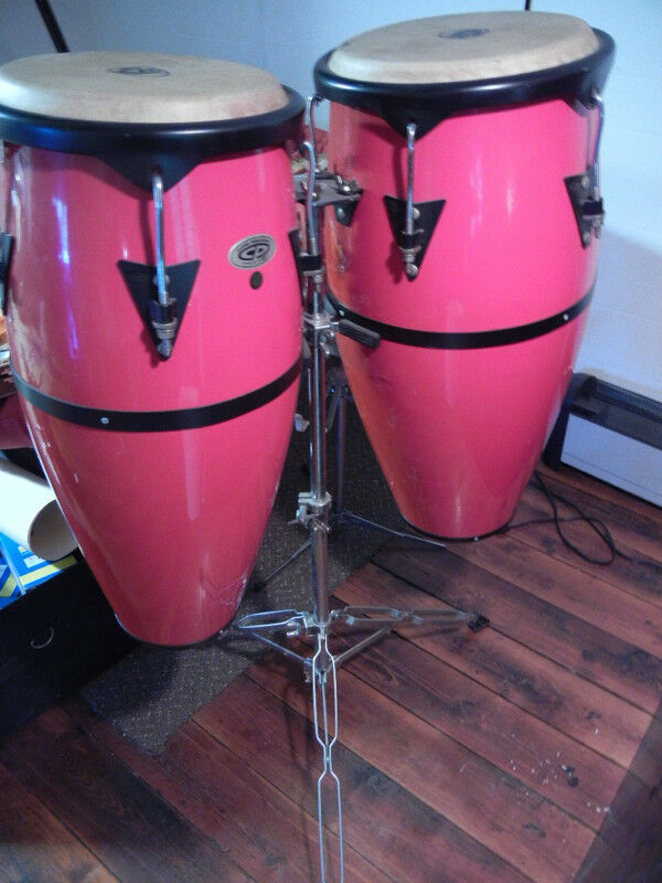Cosmic CP  Percussion Congas  in Red with Stand