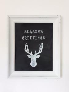 Christmas Deer Chalkboard Art and Frame