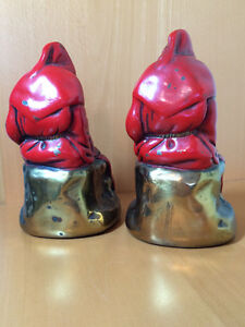 Pair of Vintage Armor Bronze Red Robed Monk Bookends Windsor Region Ontario image 2