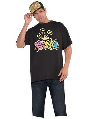 T Shirt Fresh Hip Hop Mens Rapper Gangster Adults Fancy Dress Accessory 80s - Hip Hop Kostüm T Shirts